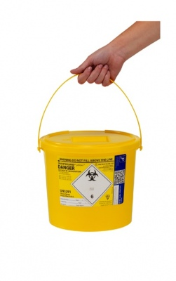 Sharps bin 7ltr yellow lid